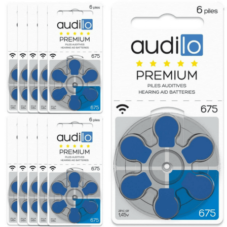 Piles Auditives Audilo Premium 675 Lot de 10 Plaquettes (Total de 60 ou 120 piles)