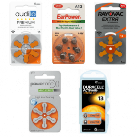 PACK d'ESSAI Piles Auditives 13 Audilo Premium, EarPower, PowerOne, Duracell, Rayovac
